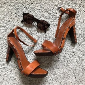 YVES SAINT LAURENT brown leather sandal heels 38